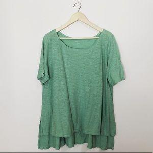 Eileen Fisher organic cotton green blouse XL